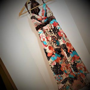 2/$20 Halter High-Low flowing Maxi Dress brown red